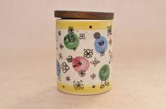 Staffel-Limburg-Kanister - Vintage Keramik Speicher Jar mit Teakholz Deckel - Porzellan & Holz Gewürz jar - Vintage Kitchenalia - Schmetterlinge