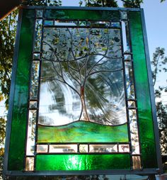 Personalized Family Tree Stained Glass door stainedglassfusion