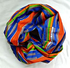 Blue African Print Infinity Scarf by SewSophistikated on Etsy