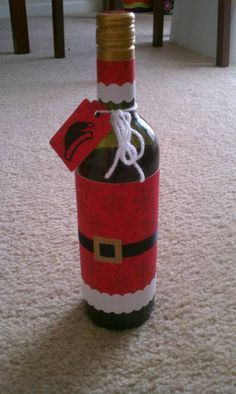 Why buy a bag? - PAPER CRAFTS, SCRAPBOOKING & ATCs (ARTIST TRADING CARDS) (decorate a wine bottle to look like Santa when giving as a Christmas or hostess gift)