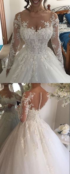 Ball Gown Dress,Illusion Dresses,Long Sleeves Wedding Dresses,Beading Wedding Dresses