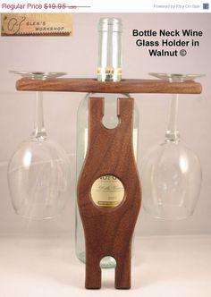 Fathers Day Sale Handmade Bottle Neck Wine Glass by GlensWorkshop, $15.96