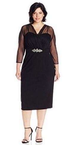 Alex Evenings Women's Plus Size Shift Black Dress Illusion Neckline Wedding NWT #AlexEvenings #LittleBlackDress