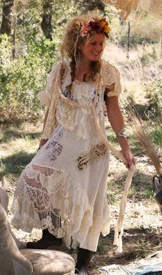 This would be a cool wedding dress...in a field or under a huge tree.. Magnolia Pearl