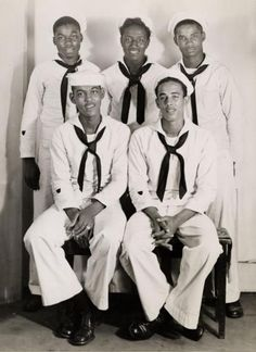 """ Five Sailors "" …… African-American sailors posing in their white uniforms [Circa 1940-50] …. The shield on the lower sleeves, indicates that these guys were Coast Guard sailors."
