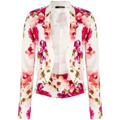 Quiz Flower Long Sleeve Blazer ($22) ❤ liked on Polyvore featuring outerwear, jackets, blazers, coats, tops, clearance, white, print jacket, floral blazer and floral jacket