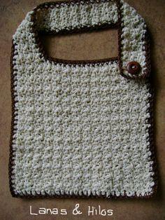 Here is the pattern for other baby bibs.  (ESP) Aquí les pongo el patrón para un babero para bebé.     It is very simple to make:   1. 30 ch...