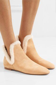 The Row   Eros Ankle Boots aus Veloursleder mit Shearling-Besatz   NET-A-PORTER.COM