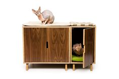 "Mid Century Modern Cat Litter Box Furniture | LARGE Cat Litter Box Cover | Dog & Cat House | Walnut Side Table | ""Modular Cabinet Set"" by modernistcat on Etsy https://www.etsy.com/listing/122032355/mid-century-modern-cat-litter-box"
