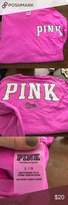 PINK crewneck long sleeve shirt PINK crewneck long sleeve shirt. Worn once. Perfect condition. Size large. PINK Victoria's Secret Tops Tees - Long Sleeve
