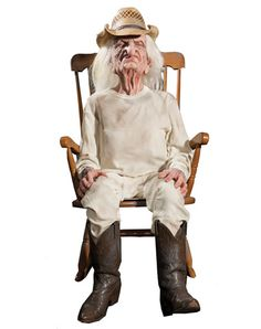 "#Halloween │ Original pinner: ""Who left grandpa in the chair? An afternoon nap can turn deadly when you leave an old guy sitting around in his underwear. The diabolically designed life-size prop includes a CD with 'cranky old man' noises. You provide the CD player and a chair and dress grandpa any way you want. Set him up, hit the CD, and watch the reactions."""