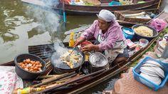 Thai Food at Tha Kha Floating Market (ตลาดน้ำท่าคา) - Don't Miss Aunty's...