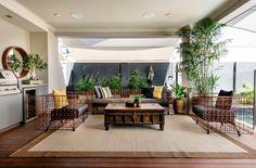 Salon de jardin design luxueux et la cuisine d'été
