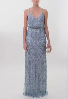 PowerLook Aluguel de Vestidos Online- ADRIANNA PAPELL Vestido Tiffany longo bordado com alça cruzada Adrianna Papell - azul #adriannapapell #vestidolongo #vestidoalcinha #vestidoalcacruzada #vestidoazul #vestidobordado #vestidofesta  #vestidocasamento #vestidomadrinha