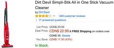Amazon Canada Offers: Save 43% on Dirt Devil Simpli-Stik All in One Stick Vacuum Cleaner 41% on Crayola Glitter... http://www.lavahotdeals.com/ca/cheap/amazon-canada-offers-save-43-dirt-devil-simpli/159431?utm_source=pinterest&utm_medium=rss&utm_campaign=at_lavahotdeals