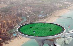 World's highest tennis court near the top of the Burj Al Arab Hotel in Dubai.