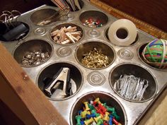 A muffin tin provides a handy single-step solution to rallying the bits and baubles that live in your junk drawer, home office, or vanity (try it with earrings, rings, and bracelets, too). See more at Tattered Style »  - WomansDay.com