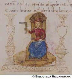 Ricc. 2669, FILIPPO CALANDRI, Trattato di aritmetica Sec. XV, fine; Firenze; bottega di Boccardino il vecchio.  Personaggio con squadra, c. 74r