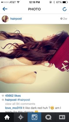Dark red hair color, auburn, I want to dye my hair this color!!! I love it