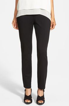 Eileen Fisher petite skinny knit pants with yoke detail in black