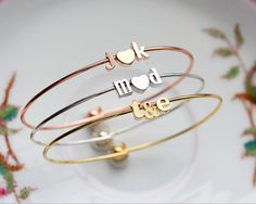 Build Your Own Personalized Charm Bracelet Initial Bangle Bracelet Bridesmaid Gift Personalized Wedding Dainty Bangle letter Bracelet Bracelet Initial, Monogram Necklace, Bangle Bracelets, Bangles, Stackable Bracelets, Unique Valentines Day Gifts, Delicate Gold Necklace, Wedding Initials, Best Valentine's Day Gifts