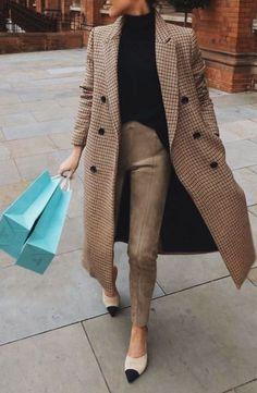 Plaid camel coat + camel pants + black sweater + Chanel heels #streetstyle #womensfashion #ootd