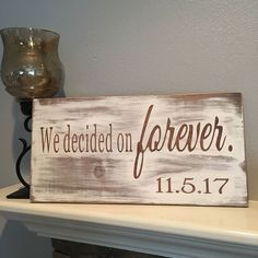 Items similar to engagement wood sign wedding wood sign We decided on forever sign photo prop wedding decorations wedding gift engagement sign on Etsy