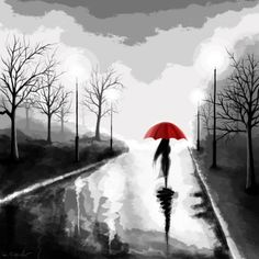 "a new version of the ""woman with the red umbrella"" theme, based on my old oil painting. woman in the rain - reloaded Ladies Umbrella, Umbrella Art, Ganesha, Rain Wallpapers, Journey's End, Singing In The Rain, Illustrations, Female Art, Photo Galleries"