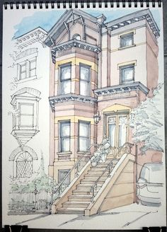 https://flic.kr/p/eHuqBh | 873 President St | Ink and watercolor sketch on location. Oops not enough room for the top!