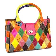 Iblue Womens Cow Leather Top Handle Handbag Purse Multi-colored Shoulder Bag. Bright and bold colors - http://amzn.to/29fSnle
