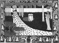 Aubrey Beardsley, La Beale Isoud at Joyous Gard, illustration for Le Morte D'Arthur.