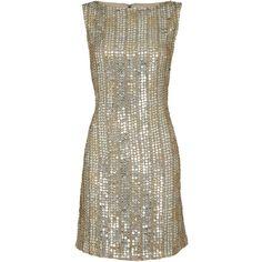 Alice + Olivia Leighton Aline Dress (£485) ❤ liked on Polyvore featuring dresses, vestidos, short dresses, cocktail dresses, silver, sequin cocktail dresses, sequin embellished dress, short sequin dress, brown dress ve sequin dress