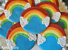 rainbow decoratedsugar cookies | Rainbow Cookies Decorated Sugar Cookies Birthday Cookie Favors One ...