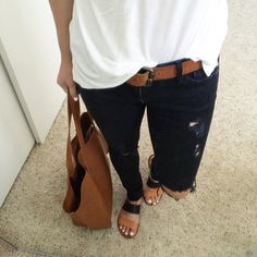 AG distressed ankle jeans