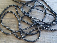 ANTIQUE FRENCH STEEL MICRO BEADS BLACK METAL ROUNDS FACETED SILVER 34bpi