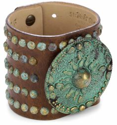 Italian Leather with Sundial Ornament Cuff Bracelet