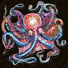 Mosaic Octopus / Coral Garden of Davinci at Second Life Tile Art, Mosaic Art, Mosaic Glass, Stained Glass, Glass Art, Mosaic Crafts, Mosaic Projects, Mosaic Ideas, Sicis Mosaic
