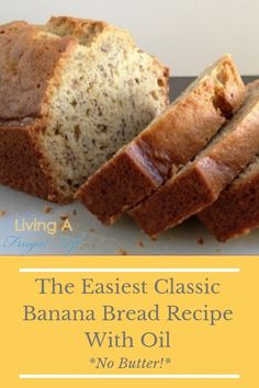Recipes Breakfast Banana This is a super easy banana bread recipe. It is made with no butter and instead uses oil. It is a very moist bread because of the oil. It is the best anytime of the day especially right out of the oven! Banana Bread With Oil, Dairy Free Banana Bread, Healthy Banana Bread, No Butter Banana Bread, Super Moist Banana Bread Recipe With Oil, Banana Bread With Bisquick, Banana Cake Recipe With Oil, Healthy Bread Recipes, Best Bread Recipe
