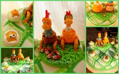 Chicken run fondant cake Ginger and Rocky