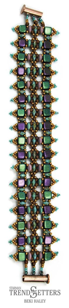 Shapeshifter Bracelet by TrendSetter Beki Haley | Ask for this SuperDuo, CzechMates Tile and Lentil class or kit at your Local Bead Store.