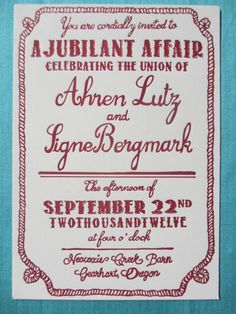 Letterpress Wedding Invitations  Barn Party by MillaVision on Etsy, $3.00