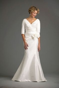 And now we have another gown that will make older women feel comfortable but also not stray away from the tradition of being a bride.