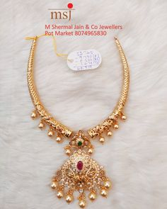 Gold Bangles Design, Gold Jewellery Design, Manubhai Jewellers, Gold Temple Jewellery, Gold Jewelry Simple, Gold Pearl Necklace, Chocker, Siri, Short Necklace