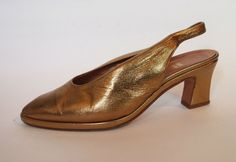 Size 6.5 Gold Leather Sling Backs Shoes $35 by SelvedgeandSew on Etsy