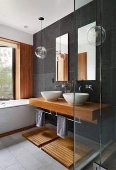 Contemporary bathroom design or the bathroom, one of the very visual pieces of a contemporary home! Get inspired and pick a best idea for your next bathroom renovation. Contemporary Bathroom Designs, Modern Interior Design, Contemporary Decor, Modern Decor, Luxury Interior, Interior Ideas, Modern Japanese Interior, Contemporary Stairs, Contemporary Building