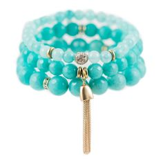 As seen in O, The Oprah Magazine! Set of 3 semi-precious beaded stretch bracelets with crystal and 22K gold-dipped accents.  Mint calms the spirit, offering protection and healing. It encouragesvitality and helps to clear the mind of negativity.