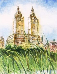 Mimi Powers painting of San Remo luxury apartments in NYC