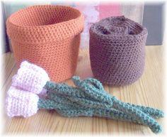 Crochet Tulip Pot...PDF Pattern by KTBdesigns on Etsy, $6.00