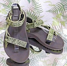 TEVA GREEN FABRIC STRAPPY OPEN TOE SPORT SANDALS ANKLE STRAP SHOES WOMENS SZ 6 #Teva #AnkleStrap #Casual