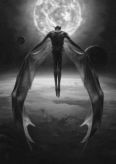 Vampire or Demon? Dark Fantasy Art, Fantasy Kunst, Dark Art, Arte Horror, Horror Art, Art Vampire, Art Noir, Anime Kunst, Vampires And Werewolves
